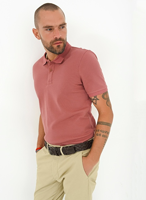 People By Fabrika Polo Yaka T-Shirt Pudra